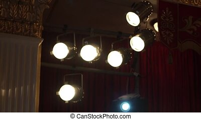 Theater lights. Red background.