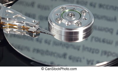 Work of hard drive - Read-write head touches spindle and...