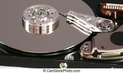 Closeup of hard disk drive - View of hard disk drive from...