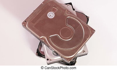 Metal hard drives - Three internal hard disk drives in metal...