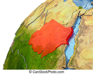Sudan on Earth - Sudan highlighted in red with surrounding...