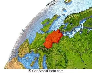 Germany on Earth - Germany highlighted in red with...