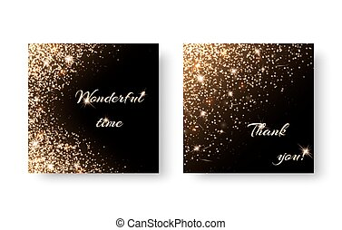 Set diamond background - Set of backgrounds with gold...