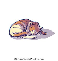 Spotted cat sleeping curled up - Vector illustration of a...