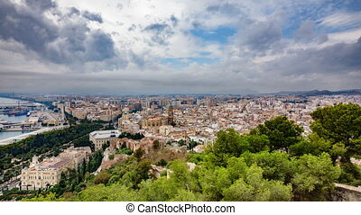 Malaga city time lapse, cloudy day - Top view time lapse of...