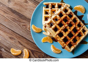 Viennese waffles on blue plate - Photo of Viennese waffles...
