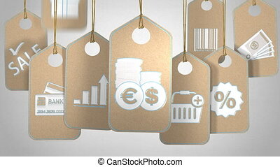 E-commerce and finance concept - Tags with symbols and icons...