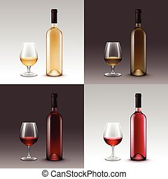 Set of Wine Bottles and Glasses on Background