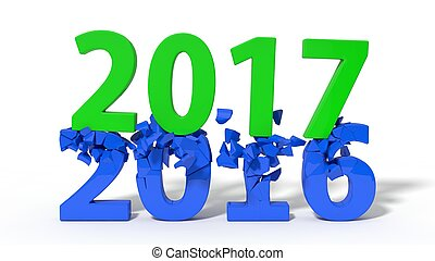 new year concept. old numbers broking under new year...