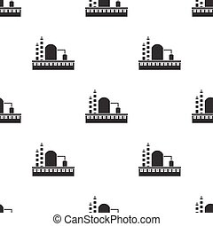 Factory icon in black style isolated on white background. Factory pattern stock vector illustration.