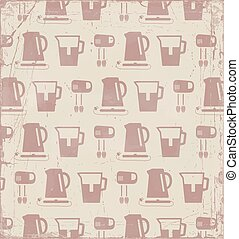 Kitchen retro background, vector pattern.