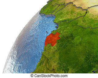 Gabon on Earth - Gabon highlighted in red with surrounding...