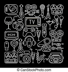 Entertainment Icons - Art line on a black background...