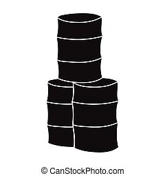 Barricade from barrels icon in black style isolated on white...