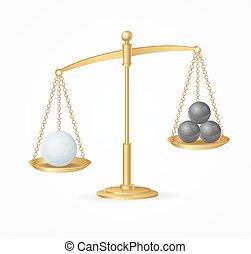 Balance Concept White True Win. Vector