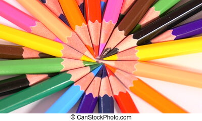 Pencils form colorful circle - pencils of bright colors are...