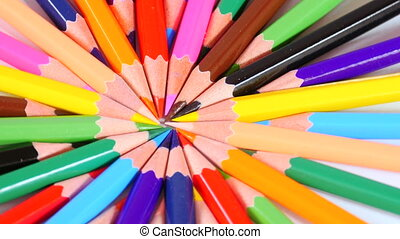 Colorful circle made from pencils - Colorful pencils point...