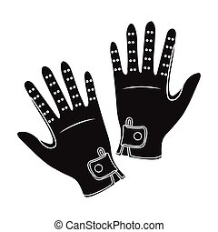 Jockey's gloves icon in black style isolated on white...