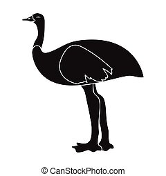 Emu icon in black style isolated on white background....