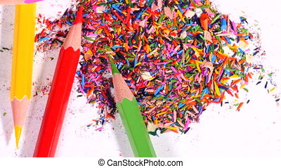 Pencils in pile of leftovers - Pink, green, red and yellow...