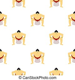 Sumo wrestler icon in cartoon style isolated on white background. Japan pattern stock vector illustration.