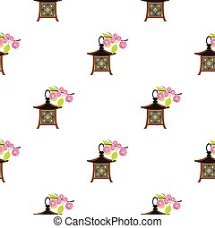 Japanese lantern icon in cartoon style isolated on white background. Japan pattern stock vector illustration.