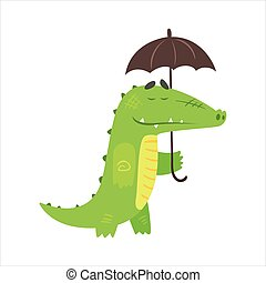 Crocodile Walking Under Rain With Umbrella, Humanized Green Reptile Animal Character Every Day Activity
