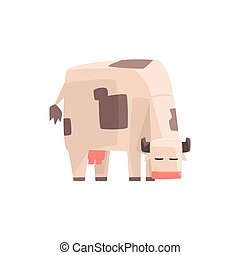 Toy Simple Geometric Farm Cow Browsing, Funny Animal Vector Illustration