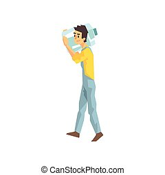 Worker Carrying Large Bottle Of Water For The Office, Delivery Company Employee Delivering Shipments Illustration