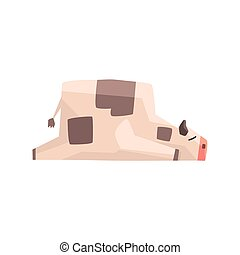 Toy Simple Geometric Farm Cow Laying Sleeping While Browsing, Funny Animal Vector Illustration