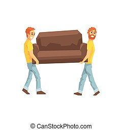 Two Movers Carrying Sofa For Ressetlement,Delivery Company...