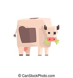 Toy Simple Geometric Farm Cow Browsing With Mouth Full Of Grass, Funny Animal Vector Illustration