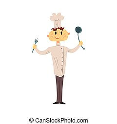Professional Cook In Classic Double Breasted White Jacket...