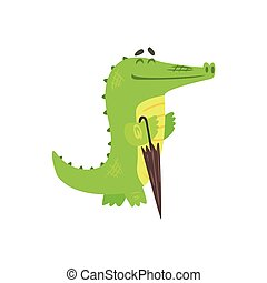 Crocodile Walkig With Closed Umbrella, Humanized Green Reptile Animal Character Every Day Activity