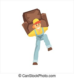 Smiling Strong Worker Carrying An Armchair On His Back,...