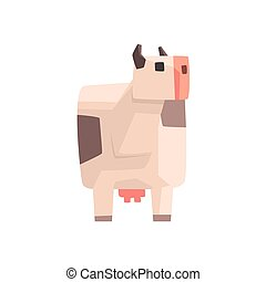 Toy Simple Geometric Farm White Spotted Cow Browsing, Funny Animal Vector Illustration