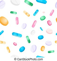 Vector seamless pattern tablets and pills on a white background