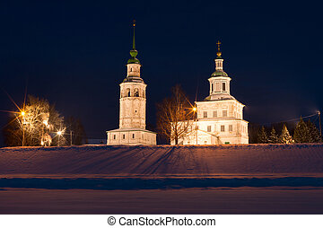 Winter view of historical centre. Veliky Ustyug, Russia. -...