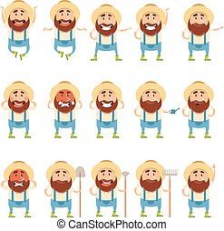 Set of flat farmer icons - Vector image of the Set of flat...