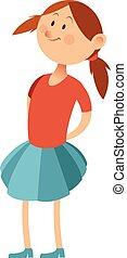 Flat little girl - Vector image of the Flat little girl