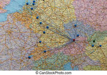 nó, mapa, pontos, Europa, rede