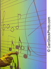Whiteboard with music notes - Hand pointing at whiteboard on...