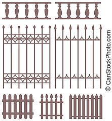 Set of fences silhouettes.