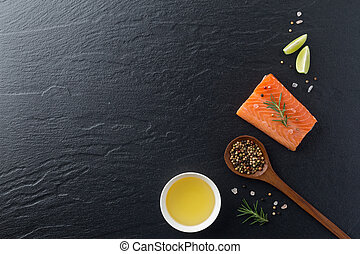 Beautiful composition of fresh salmon fillet with rosemary,...