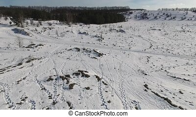 beautiful panoramic snowy landscape shot from quadrocopter -...