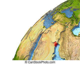 Kuwait on Earth - Kuwait highlighted in red with surrounding...