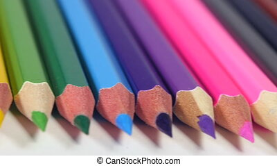 Sharp ends of colorful pencils - Sharp ends of multi...