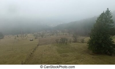 misty countryside by mountains with forest, aerial shoot
