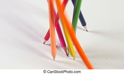 Falling colorful pencils - Bunch of colorful pencils falls...