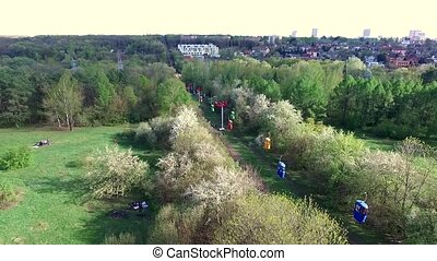 beautiful view of cableway in Kharkiv Gorky park, aerial...